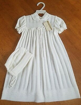 VTG 1950s Friemanit Baby Baptism CHRISTENING GOWN Bonnet Cap Knit NWT old stock