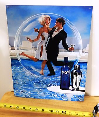 """SKYY VODKA Metal Sign Dancing on Water! New Old Stock 12 x 16"""" Great for Bar"""