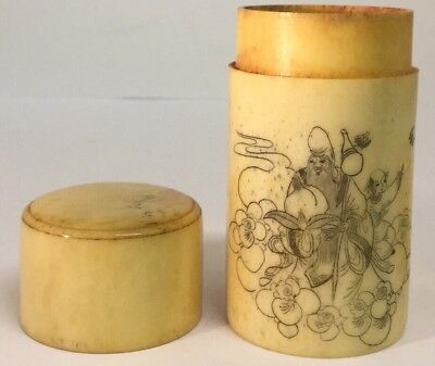 Scrimshaw Chinese Bovine Bone Box, Signed With Calligraphy,High Quality.