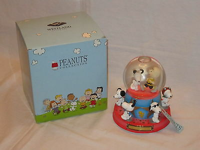 Rare Westland Giftware Peanuts Snoopy Charlie Brown 50th Musical Snow Globe 8299