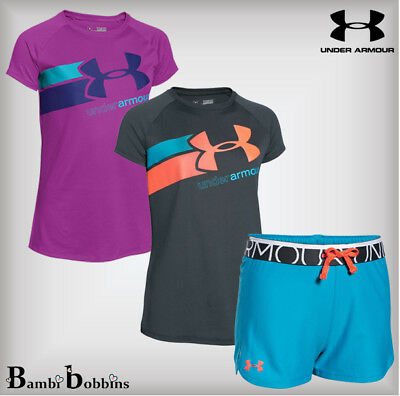 Under Armour Girls T-Shirt Shorts 7-8-9-10-11-12-13-14-15-16 Years S M L XL