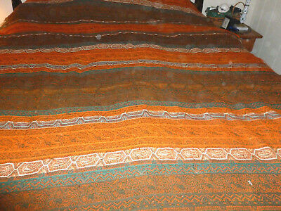 thAntique 19thC c1870 Wool  Paisley Stripe  Fabric  60 x 108 great condition