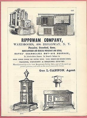 1855 Ad ~ HOT-AIR FURNACES, CALORIC FURNACES ~ PARLOR & COOKING STOVES
