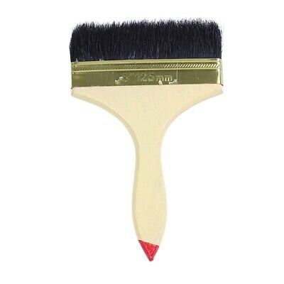 """5"""" Wide Red Tip Wood Handle Black Nylon Filament Oil Painting Painter Brush I6Y5"""