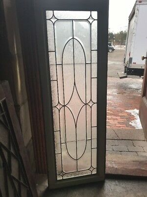 Sg1769 Antique Textured And Beveled Glass Transom Window 17.25 X 50.5
