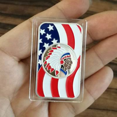 """1 Troy oz .999 Fine Silver Bar, """"Colorful American Liberty Indian chief"""" design."""