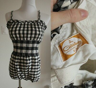Vintage 50s Catalina One Piece Gingham Seersucker Black and White Swimsuit XS