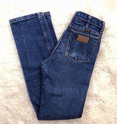 Vintage Wrangler High Waist Jeans Leather Patch 29x36