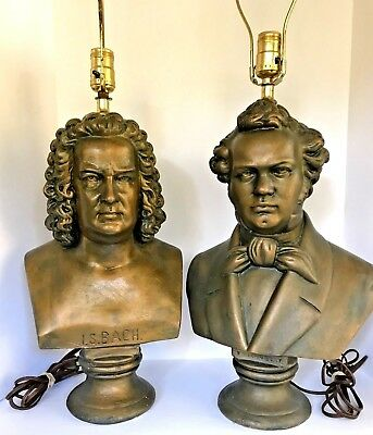 """Pair of vintage Plaster BACH & SCHUBERT Composers Bust Lamps - Large 21"""" tall"""