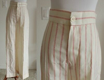 Vintage 70s Red and Cream Pinstriped Bell Bottoms Thick Material W 26