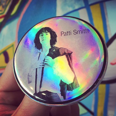 "PATTI SMITH HORSES 1970s NYC Icon 2.25"" holographic button"