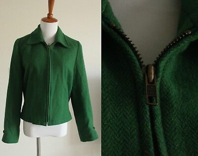 Vintage 90s does 40s Style Cropped Wool Blend Zip Up Coat Jacket Forest Green