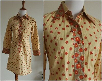 Vintage 70s Flower Print Mini Dress Pointed Collar Size S 4 6