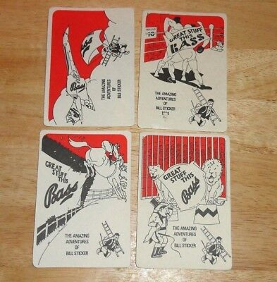 Vintage Lot Of 4 Different Bass Beer Bill Sticker Drink Coasters