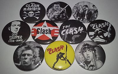 10 The Clash button badges 25mm Punk Rock Reggae The Ramones Sex Pistols Police