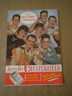 1947 Chesterfied Cigarette Ads Ted Williams-Stan Musial-Sid Luckman-Bobby Riggs