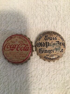 2 Richmond, V.A. Coca-Cola And Crass Bottling Company Cork Bottle Caps 6 oz.