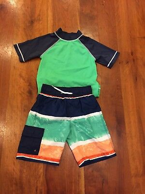 Gymboree boys size 5 swimming trunks and rash guard, pre-owned