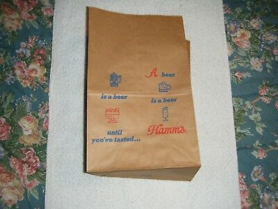 """Hamm's beer six pack sack paper bag late 60's early 70's """"A beer is a beer"""""""