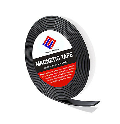 Flexible Magnetic Tape Roll with Adhesive Backing- Super Sticky! All Sizes!