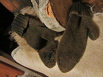 Old Early Antique Primitive Grungy Handmade Wool Mittens With Mends....