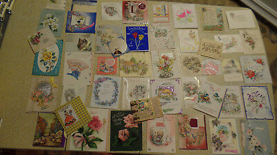1930's/40's Vintage Greeting Card Lot 47 Mixed Easter Birthday Valentines Deco