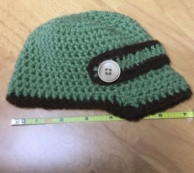 Infant Baby Handmade knitted crochet Hat Cap, Green/ Brown w/Button EUC