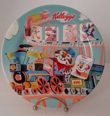 """Kellogg's-Cereal-Plate-Bowl-Porcelain-Clay-2007 """"Tony The Tiger on The Train"""