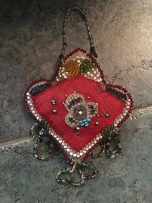 Antique Old Vintage Pin Cushion Beaded Victorian Native American Beautiful