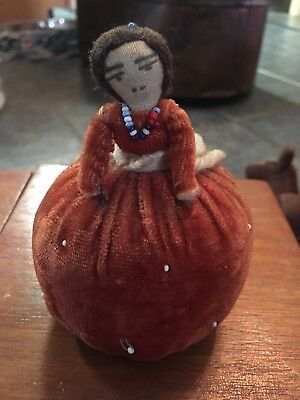 Antique Old Vintage Pin Cushion Beaded Victorian Native American Beautiful Doll