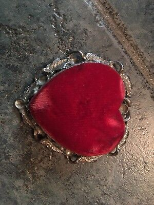 Antique Old Vintage Pin Cushion Red Velvet Heart Beautiful SF