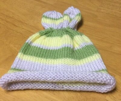 Infant Baby Handmade knitted crochet Hat Cap, Bunny Ears, Pastel Colors, EUC