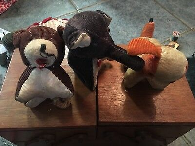 Antique Old Vintage Pin Cushions Tape Measures Dog Elephant Bear Lot Of 3 Japan