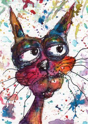 ACEO Original Painting Cat Portrait artsy messy Whimsical Art by FAiRyPiGGleS