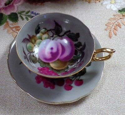 Royal Sealy GRAY Orchard Fruit Tea Cup and Saucer Japan - Hard to Find