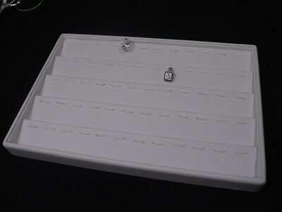 "13.5""x 9.5"" WHITE LEATHERETTE 60 Pcs RING PENDANT TRAY DISPLAY CASE TOP TE16W"