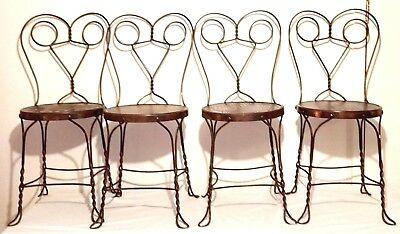 Set 4 Antique Twist Iron ICE CREAM PARLOR CHAIRS Original OAK SEATS Copper Flash