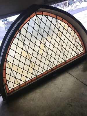 An Gothic Arch Amber Diamond Stainglass Window 80 X 50 X 8.5