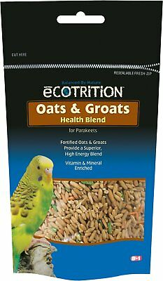 eCOTRITION Oats Groats Nutritious Snack Parakeet Treat, 8-oz bag  Free Shipping