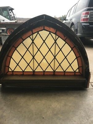 An Arch Antique Stainglass Diamond Pattern Arch Window 39 X 29h By 5.5d
