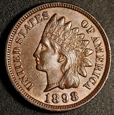 1898 INDIAN HEAD - AU UNC - With REPUNCHED DATE *SNOW-4* RPD