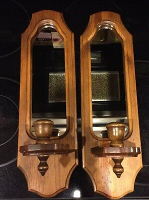 "2 Vintage Home Interior Wall Oak Wood Mirror Sconce Candle Holders 17 3/4""x5 1/4"