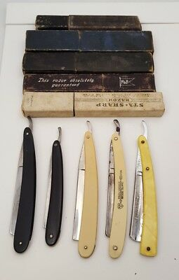 Lot Of 5 Antique Straight Razors And Boxes From Various Makers.