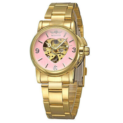 WINNER Women's Skeleton Automatic Mechanical Alloy Analog Watch, P D8R7