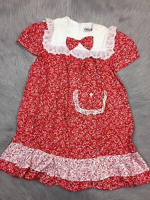 Vintage Girls Red White Floral Lace Ruffle Dress With Purse