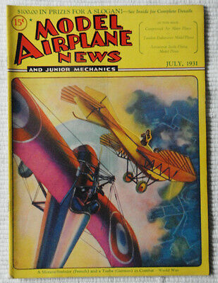 Model Airplane News Magazine July 1931 Fabulous Cover Graphics  must see