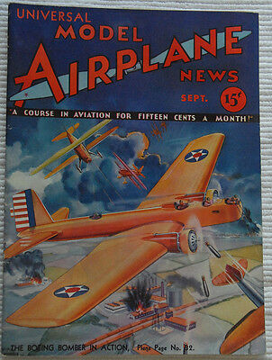 Model Airplane News Magazine September 1932 Fabulous Cover Graphics  must see