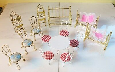 Vintage Huge LOT 14 Pieces Of Metal Dollhouse Furniture Beds Tables Chairs