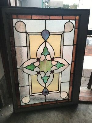 Sg1779 Antique 4 Red Jewels Landing Window 29 X 40