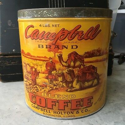 ANTIQUE VTG ADVERTISING COFFEE TIN CAMPBELL BRAND CAMEL Vintage Campbell's
